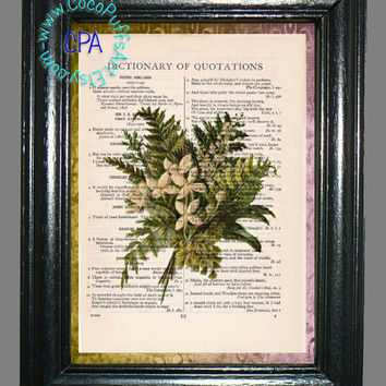 Green Fern Bouquet - - Vintage Dictionary Book Page Art-Upcycled Page Art,Wall Art,Collage Art, Plant Art, Botanical Art