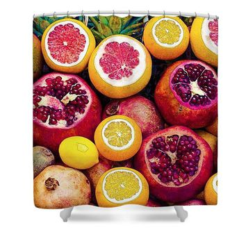 Watercolor Superfood Combo - Shower Curtain