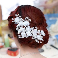 Fashion Elegant Korean Style Rhinestone Pearl U Shape Flower Hair Clasp Hairpin Stick Bride Party Prom Gift