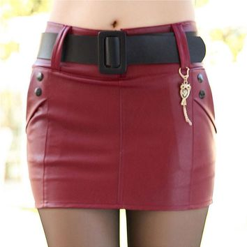 Skirt Buttons Decorative Leather Skirt Skirt Pu Leather