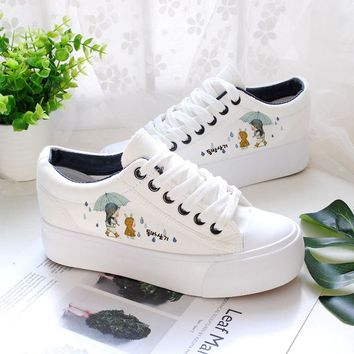 Breathable Cute Hand Painted Platform Sneakers Women Shoes 2018 Autumn Casual Canvas Shoes Ladies Trainers White Shoe
