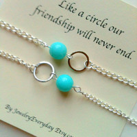 Best Friend, Mother Daughter Necklace or Bracelet Set, Girlfriend Gift, Circle for Forever Love, Friendship, Teal, Aqua, Pink, Blue, Green..