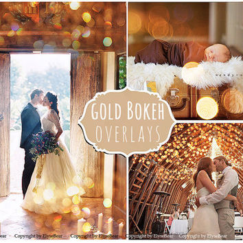 Gold Bokeh Photoshop Overlays: Photo editing Christmas Tree Twinkle Lights Effect, Golden Garland Sparkles layer, wedding and mini Sessions