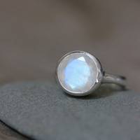 Faceted Rainbow Moonstone Ring In Sterling Silver by onegarnetgirl