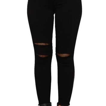 Black Stretch Slim High Waist Ripped Boyfriend Jeans
