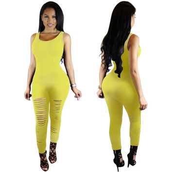 Sheath Cut Out Sleeveless Scoop Long Jumpsuit