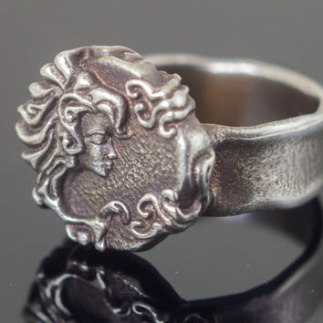 Segovia - Sterling Silver Ring with woman face. Powerful, calm and radiant. Unique design by Lena Gorelick. FREE Inscription!