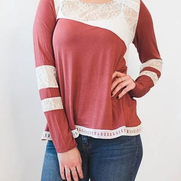 Lace Detail Top - Rust