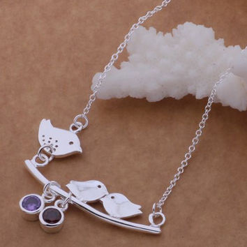 Sterling Silver Bird Necklace Couple Bird Sterling Silver Necklace