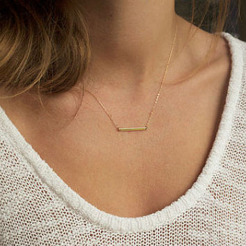 Dainty Long Thin Gold Bar Pendant Layering Necklace Gold or Silver