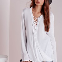 Missguided - Lace Up Wrap Blouse White