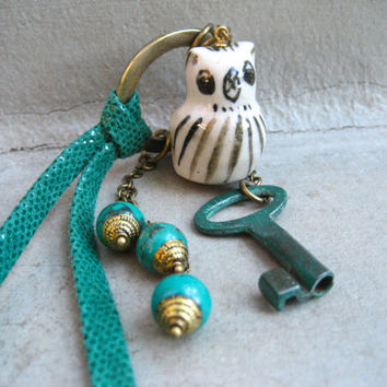 Teal  Key And Owl Necklace - Long Assemblage Necklace - Teal Leather - Tibetan Beads