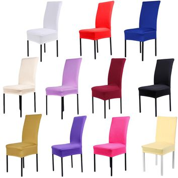 Home Chair Cover wedding decoration Solid Colors Polyester Spandex Dining Chair Covers For Wedding Party .