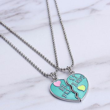 Best Friends BFF Necklaces For 2 Heart Candy color Bestfriend Necklace Cute Friendship Keepsake Gift For Girls  Jewelry