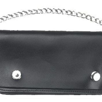 Leather Chain Checkbook Wallet