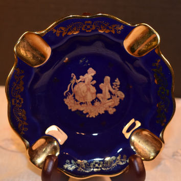 French Limoges Ashtray Vintage Cobalt Blue and Gold Limoges Courting Couple Porcelain Ashtray 24K Gold Rococo Style Wedding Gift