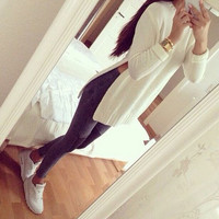 Winter Spring Womens Slit Long Knited Sweater Long Sleeve Pullover Coat +Free Gift Christmas Necklace Gift-94