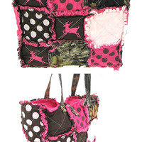 Pink camouflage with deer purse