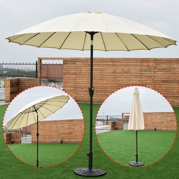 Outdoor 9ft Patio Umbrella Sunshade Cover Market Garden Cafe Crank Tilt Beige