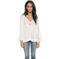 Free People Sheer Plaid Blouse - Ivory