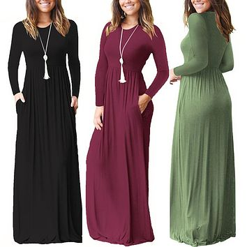 Women Long Sleeve Maxi Dress With Pocket 2018 Casual Style Round Neck Fit And Flare Pleated Long Dresses Plain Daily Vestidos