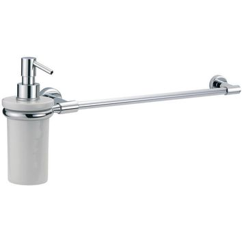 BA Tratto Wall Bathroom Towel Bar Rail Holder Hanger With Soap Dispenser - Brass