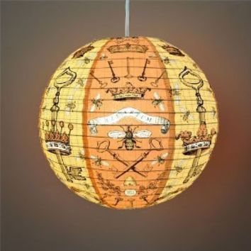 """Bees and Keys"" Decorative Hanging Paper Lantern with Light Kit (up to 40 watt bulb) - 13.75"" Diameter - With 15' Cord - Recycled Paper"