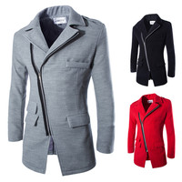 Asymmetric Zip Designer Men's Fashion Wool Coat