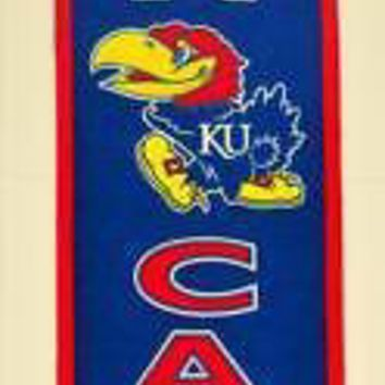 "Licensed Kansas Jayhawks Official NCAA 8"" x 32"" Man Cave Banner Flag KU by Winning Streak KO_19_1"