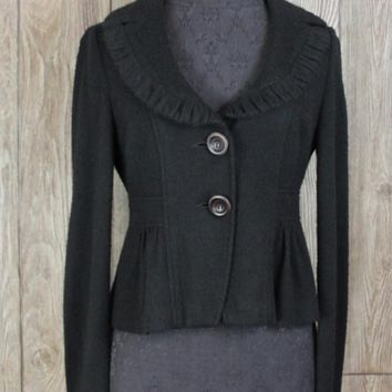 Nanette Lepore M size Cardigan Sweater Coat Black Lined Womens Career Casual