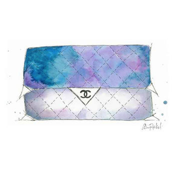 Chanel Went to Space - Print of original watercolor and pen fashion illustration by Lexi Rajkowski, home decor, closet decor, vanity decor
