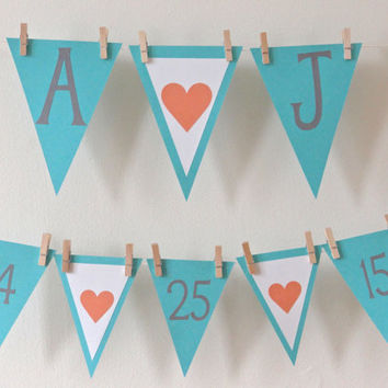 Save the Date Banner - Bridal Shower Banners - Rustic Wedding Banners - Engagement Party Decoration - Shabby Chic - Coral Tiffany Blue