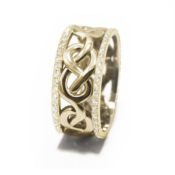 Infinity Knot Diamond Wedding Band - Unique eternity Celtic Infinity Anniversary Band