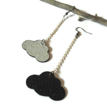 Storm cloud earrings wood clouds in glitter black and silver with silver chain wood jewelry