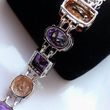 vintage Nolan Miller Lincoln Road gemstone bracelet | silver tone | faux amethyst citrine quartz | Mark Zunino designer | Glamour Collection
