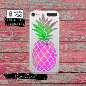 Pineapple Silhouette Cutout Pink Purple Green Case for Clear Transparent Rubber iPod Touch 5th Generation Case 5th Gen Cover or iPod 6 Gen
