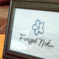 Hand Embroidered Forget Not with Flower