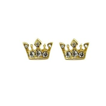 Gold Tone Small Crown Shape Iced Out Clear Cz Crystal Stud