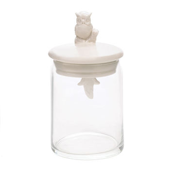Porcelain Owl Perched Atop Glass Jar