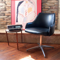 60s Mod MID CENTURY MODERN Chair Chromcraft Black Faux Leather Side, Desk, Accent, Dining Armchair Swivel Base Mid Century Modern Furniture