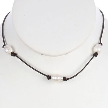 Cream Pearl Faux Leather Cord Necklace