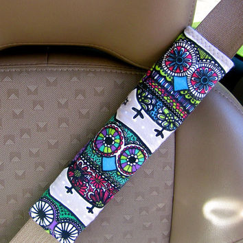 Seat Belt Strap Cover-  Colorful Owls with Reversible Grey and White Polka Dots.