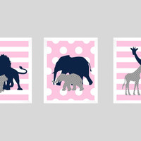 Safari Animals Navy Gray Pink Print, Girl Nursery, CUSTOMIZE YOUR COLORS, 8x10 Prints, set of 3, nursery decor nursery print art baby decor