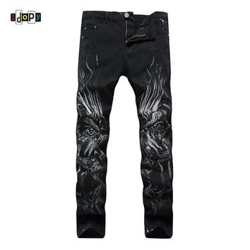 Idopy Men`s 3D Printed Jeans Printing Stylish Black Slim Fit Stretchy Denim Pants For Hipster  NightClub Singers