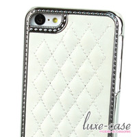 Quilted Leather iPhone 5C Case in White Elegance
