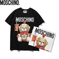 MOSCHINO Hot Sale Women Men Leisure Print Short Sleeve T-Shirt Top Black