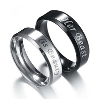Her Beast His Beauty Ring Couple Rings Stainless steel Wedding Jewelry for Lovers Engagement Promise Jewelry