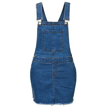 High Rise Frayed Hem Blue Denim Overall Skirt with Adjustable Straps