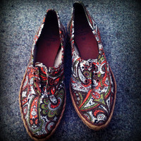 Vintage 1950's Paisley Pointy Toe Canvas and by TrueBlueDryGoods