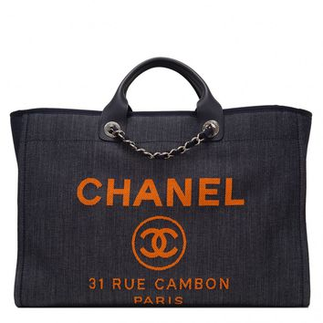 Chanel Blue and Orange Large Deauville Shopping Tote